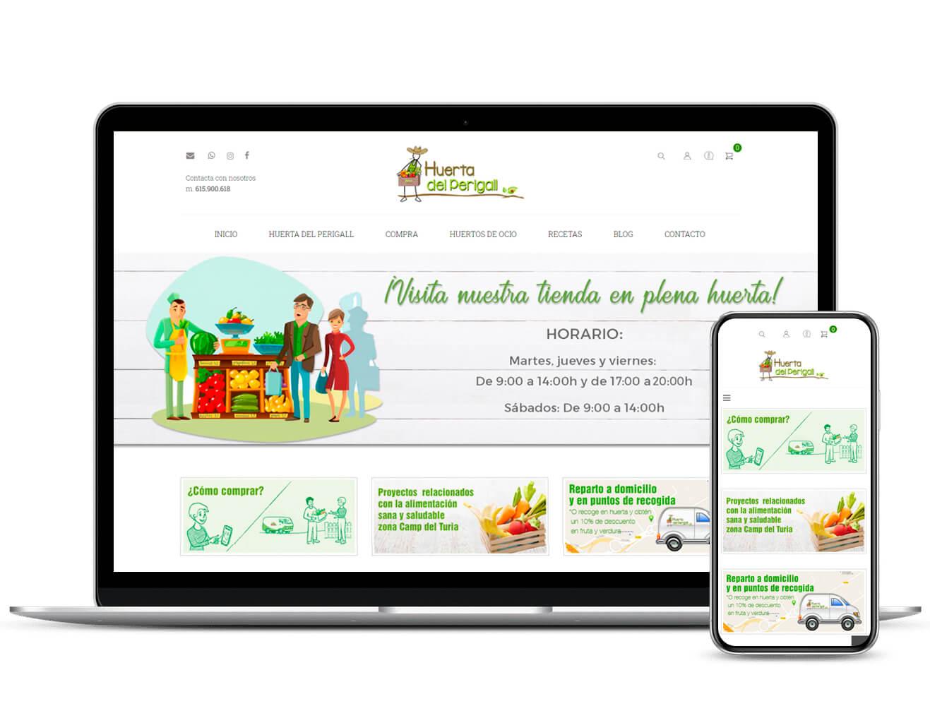 Diseño de tienda de productos ecológicos Huerta del Perigall