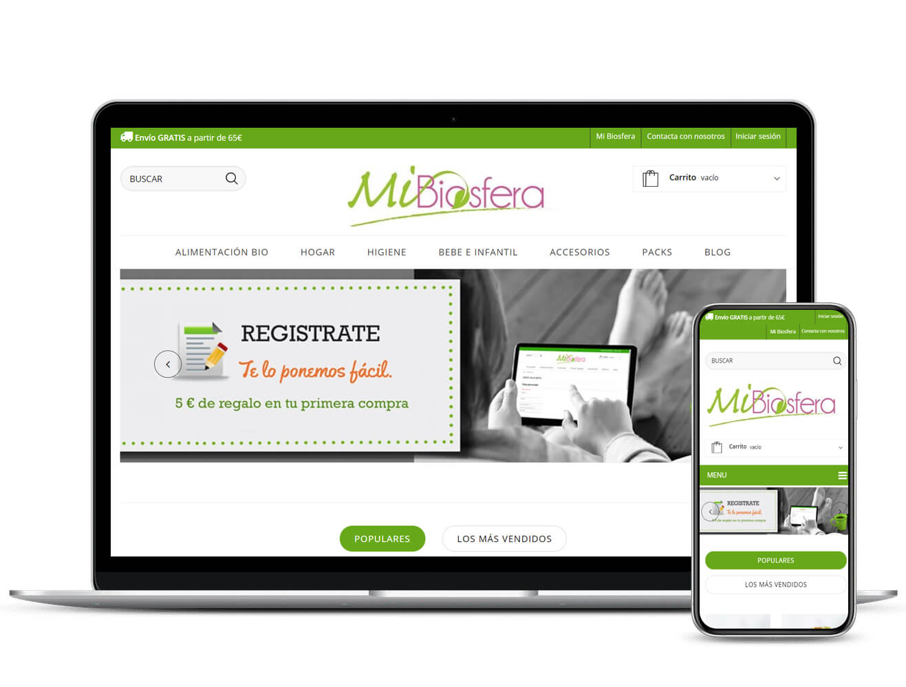 Diseño de tienda online MiBiosfera